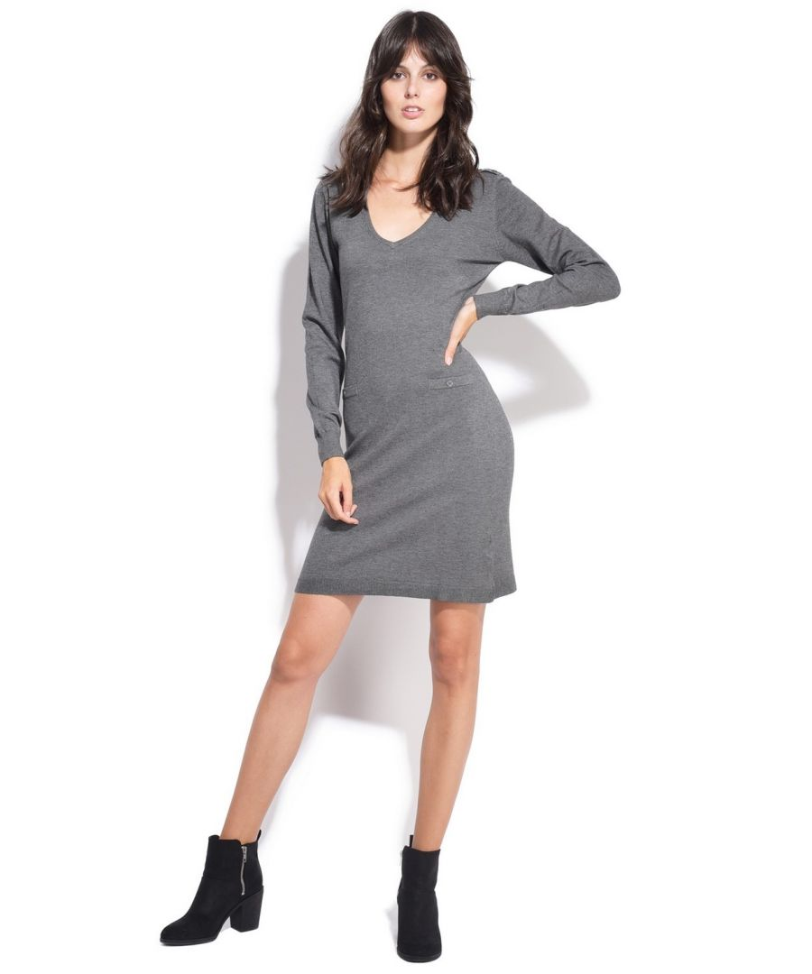 Image for Assuili V-neck Dress with Shoulder Buttons in Grey