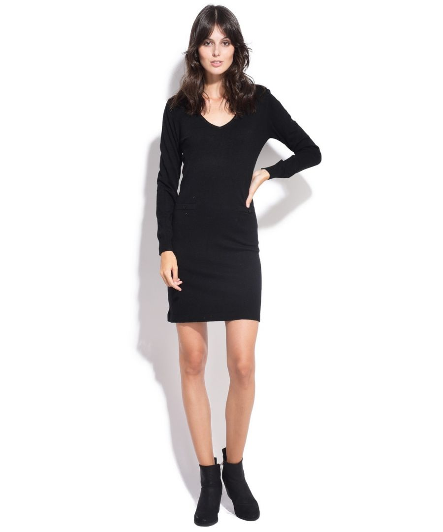 Image for Assuili V-neck Dress with Shoulder Buttons in Black