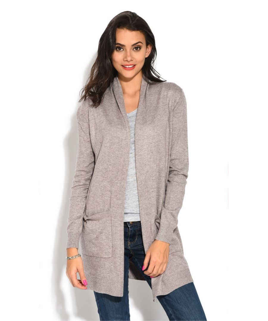 Image for Assuili Longline Long Sleeve Cardigan with Pockets in Beige