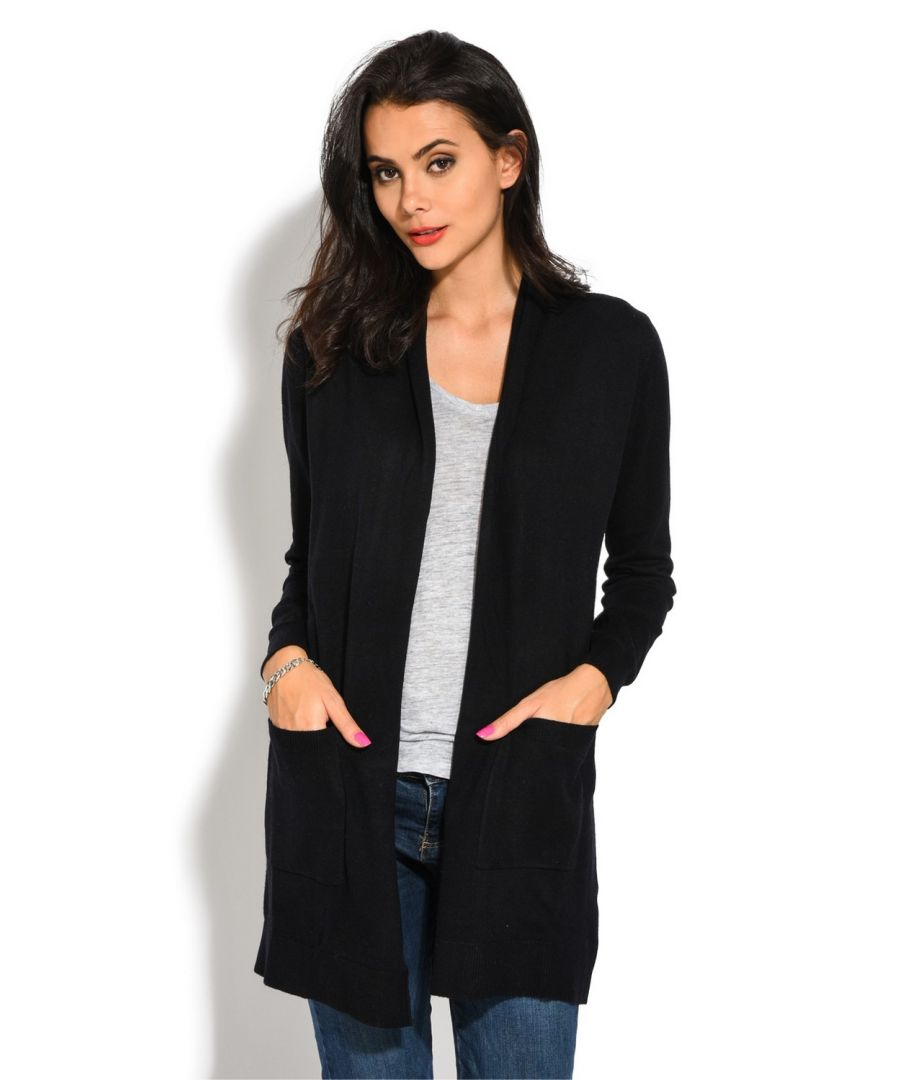 Image for Assuili Longline Long Sleeve Cardigan with Pockets in Black