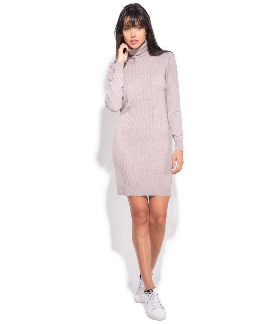 Image for Assuili Turtleneck Dress in Beige