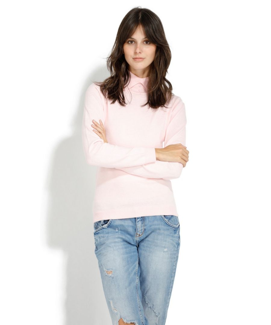 Image for Assuili Shirt Collar Sweater in Pink