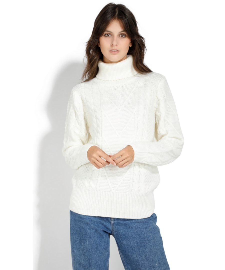 Image for Assuili Roll Neck Twisted Yarn Sweater in Natural