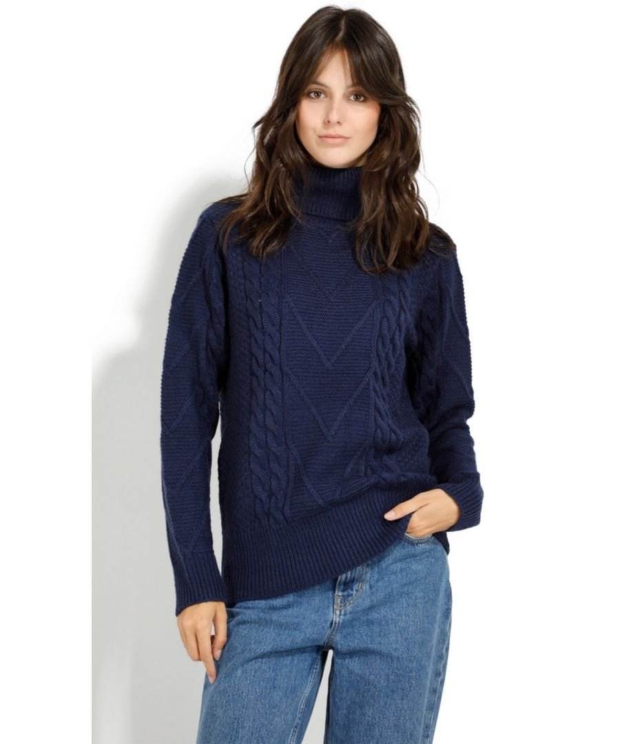 Image for Assuili Roll Neck Twisted Yarn Sweater in Navy