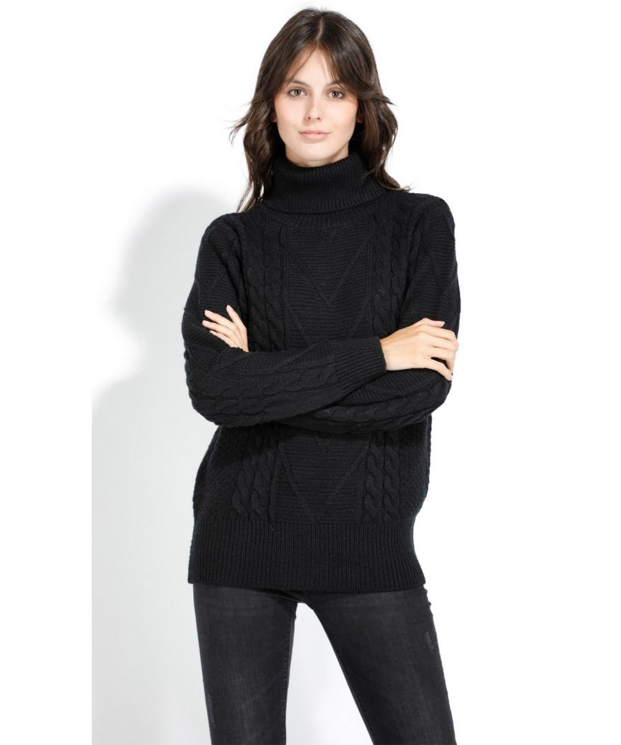 Image for Assuili Roll Neck Twisted Yarn Sweater in Black