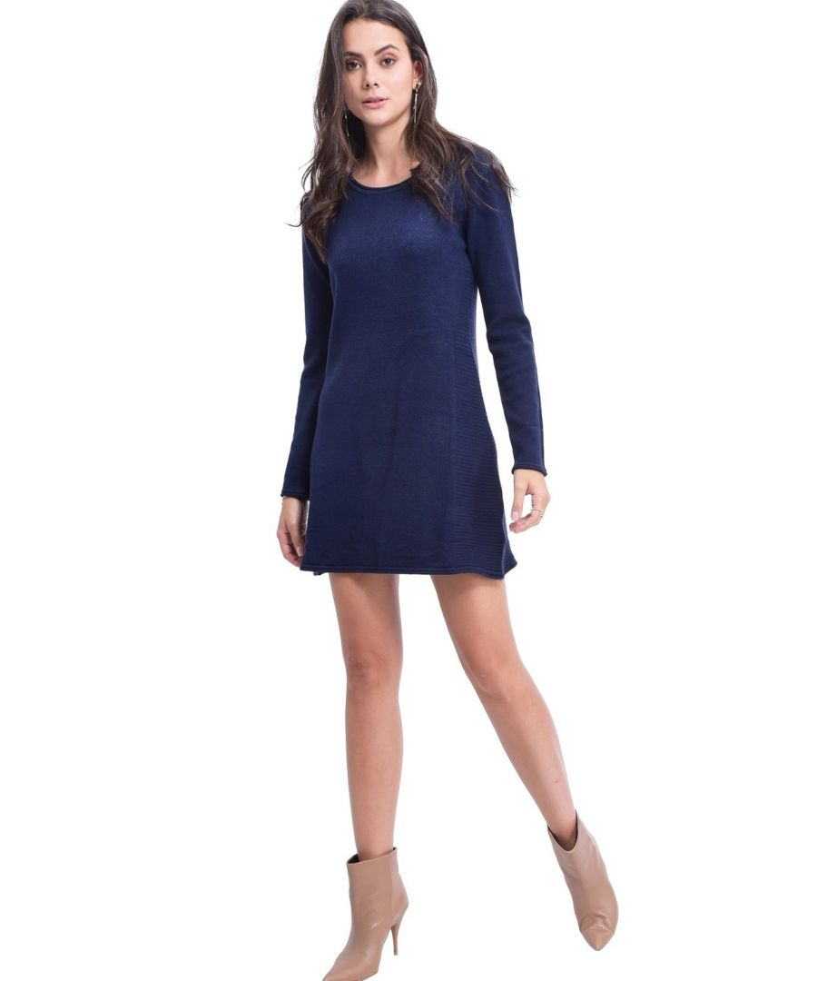 Image for Assuili Round Neck Ribbed Side Tunic in Navy