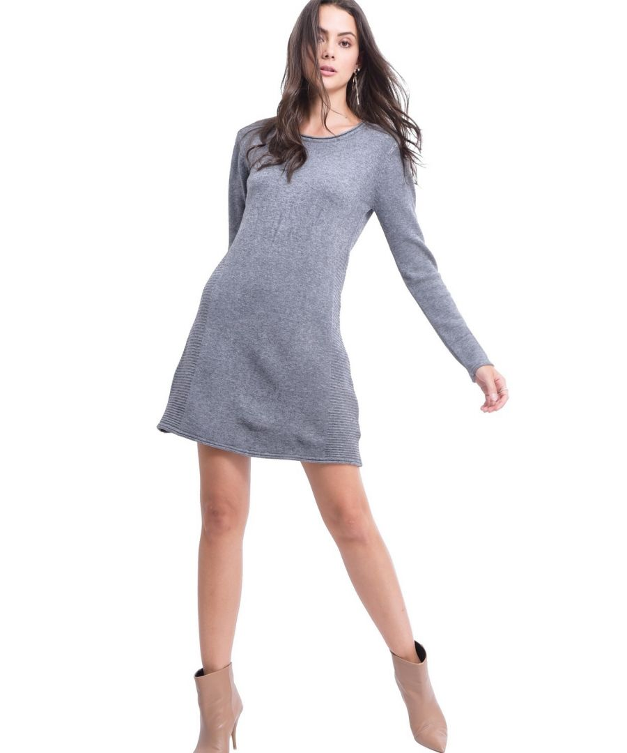 Image for Assuili Round Neck Ribbed Side Tunic in Grey