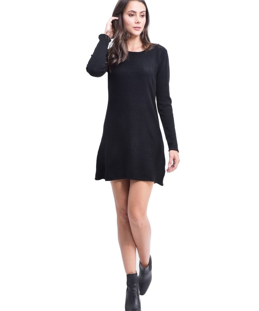Image for Assuili Round Neck Ribbed Side Tunic in Black
