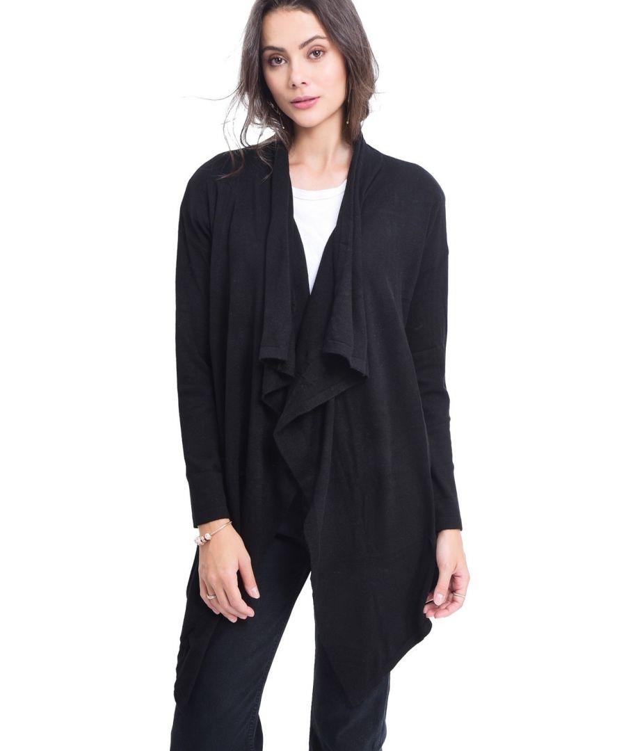Image for Assuili Longline Shawl Collar Cardigan in Black