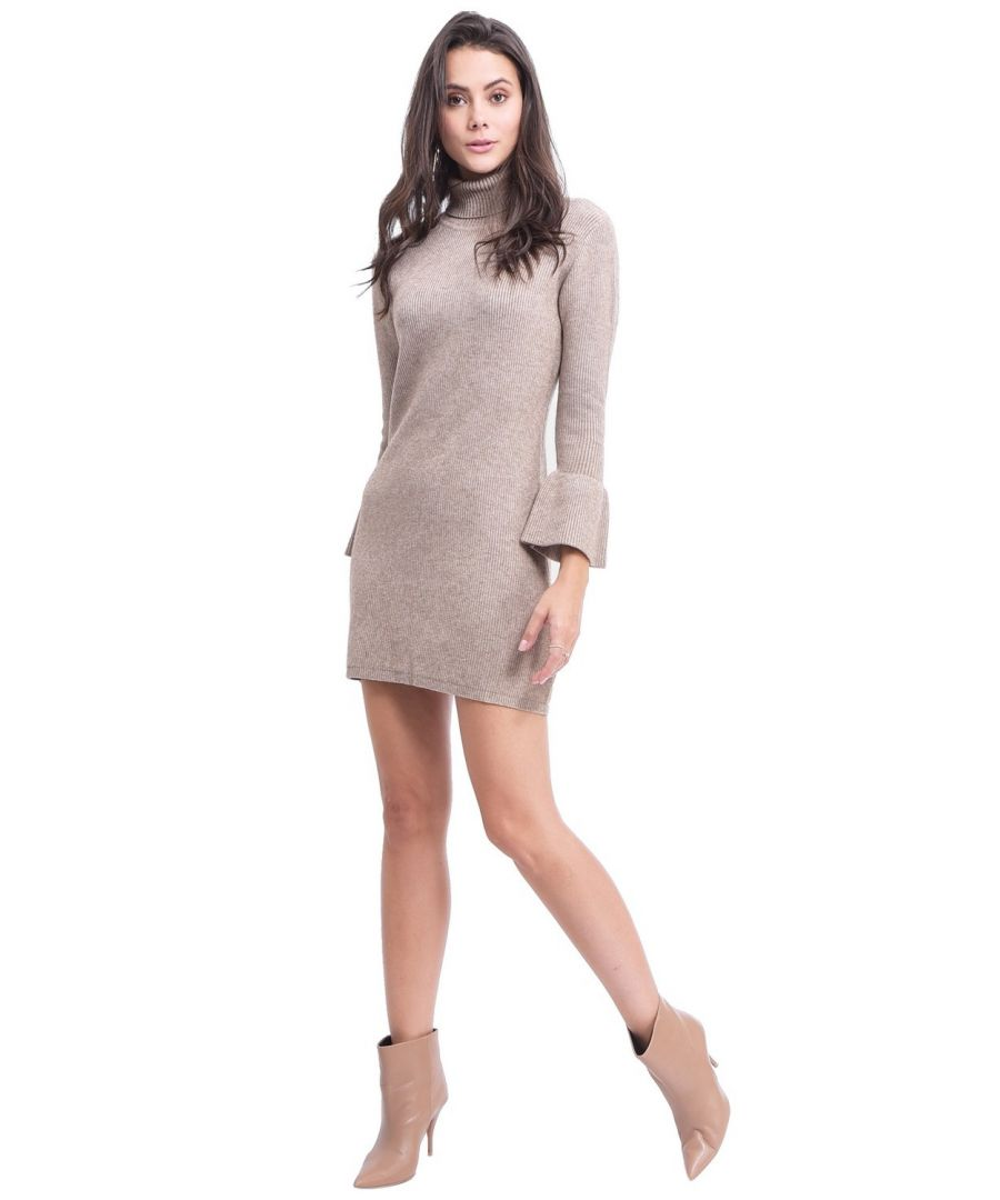 Image for Assuili Roll Neck Dress with Babydoll Sleeves in Beige