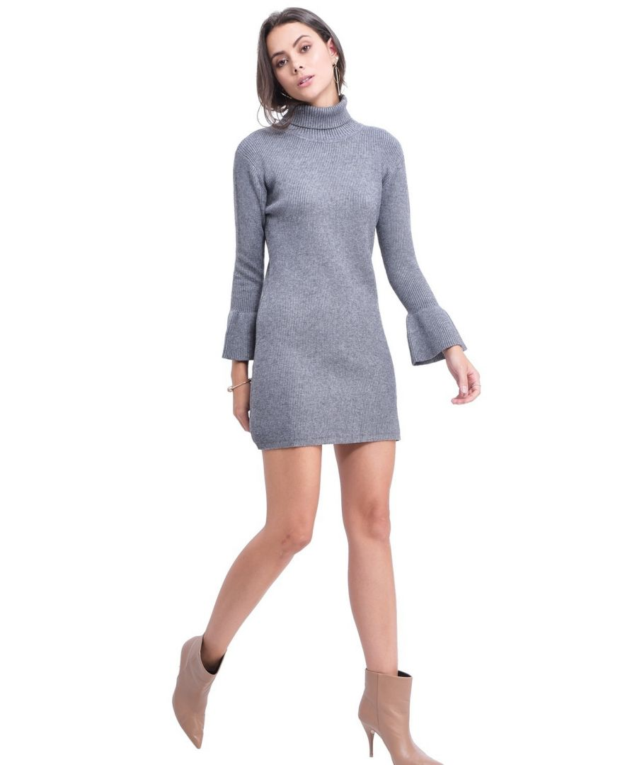 Image for Assuili Roll Neck Dress with Babydoll Sleeves in Grey