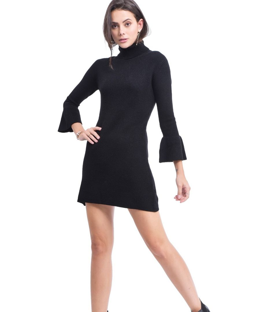 Image for Assuili Roll Neck Dress with Babydoll Sleeves in Black