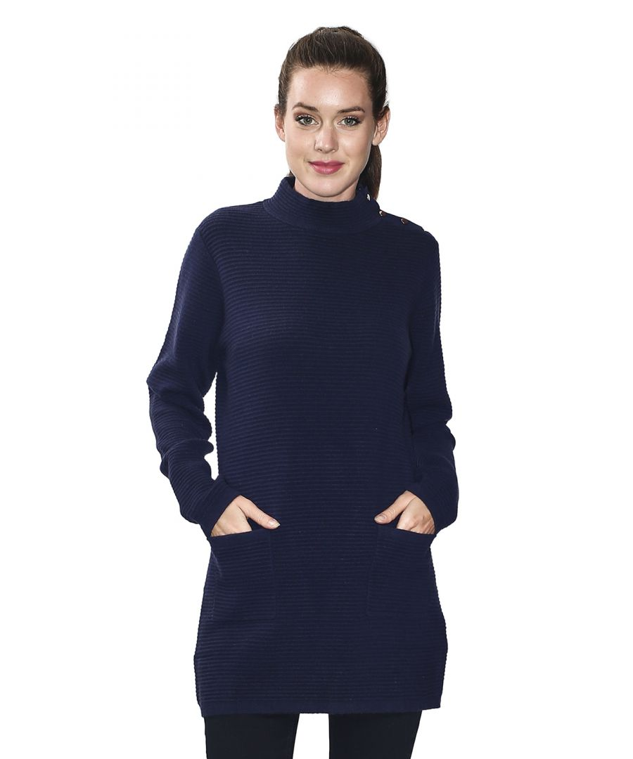Image for Assuili Long Sleeve Tunic with Pockets and Buttoned Shoulders in Navy