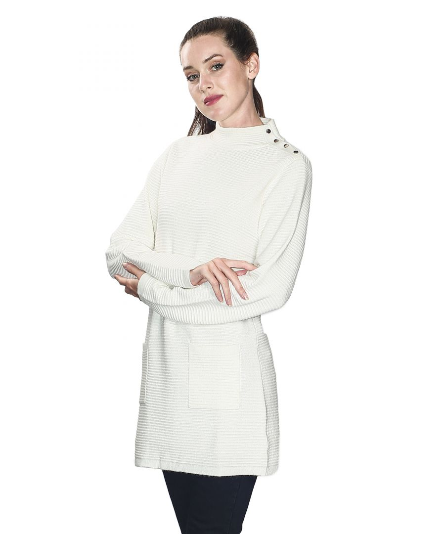 Image for Assuili Long Sleeve Tunic with Pockets and Buttoned Shoulders in Natural