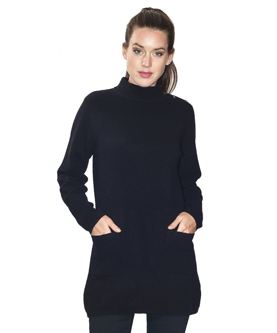 Image for Assuili Long Sleeve Tunic with Pockets and Buttoned Shoulders in Black