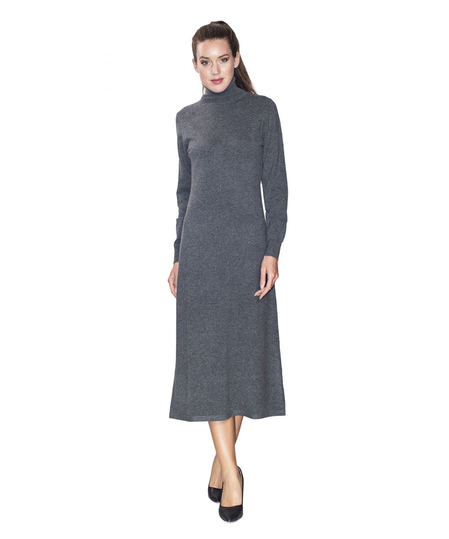 Image for Assuili Turtleneck Midaxi Dress in Grey