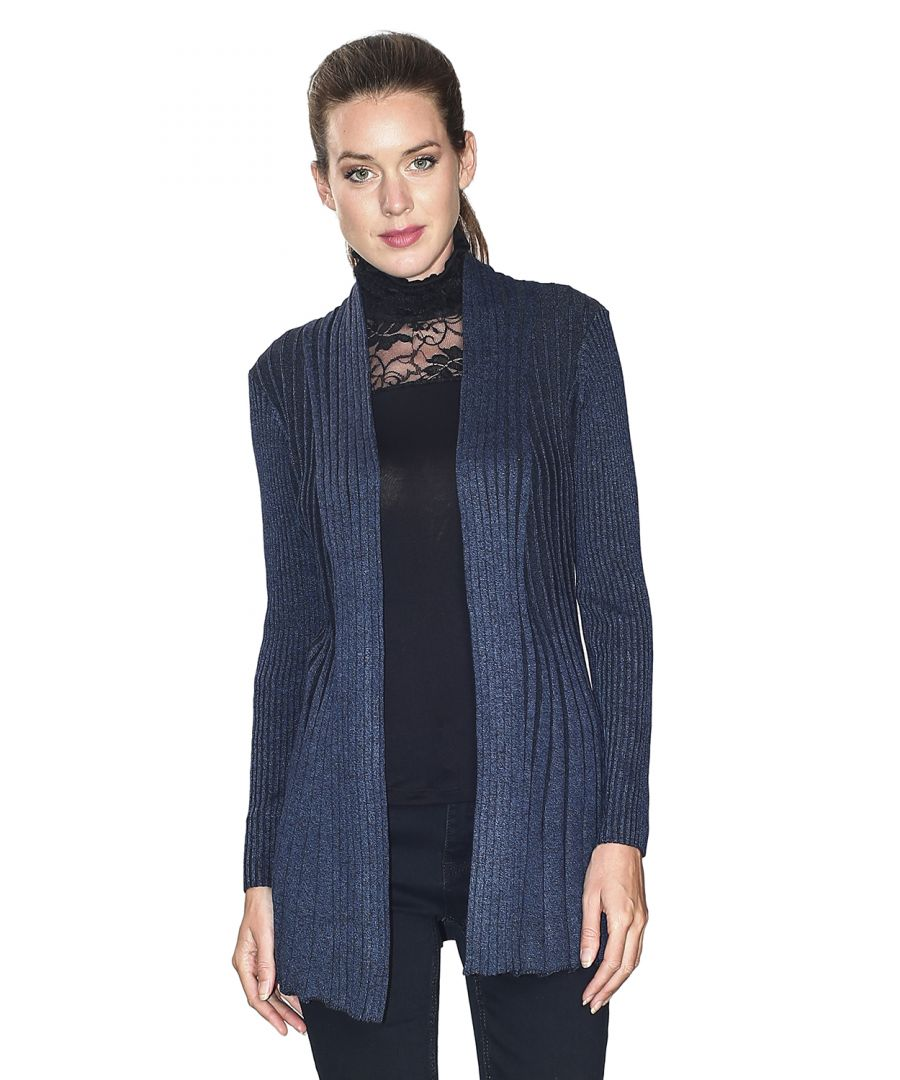Image for Assuili Long Sleeve Textured Mesh Open Cardigan (Classic Fit) in Navy