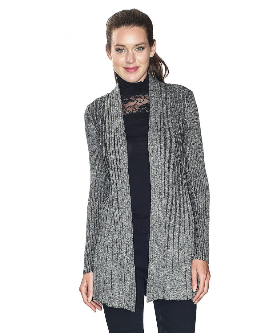 Image for Assuili Long Sleeve Textured Mesh Open Cardigan (Classic Fit) in Black