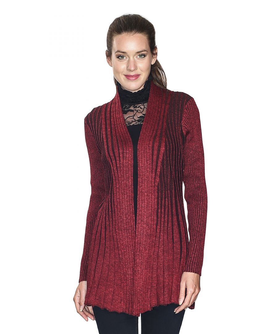 Image for Assuili Long Sleeve Textured Mesh Open Cardigan (Classic Fit) in Red