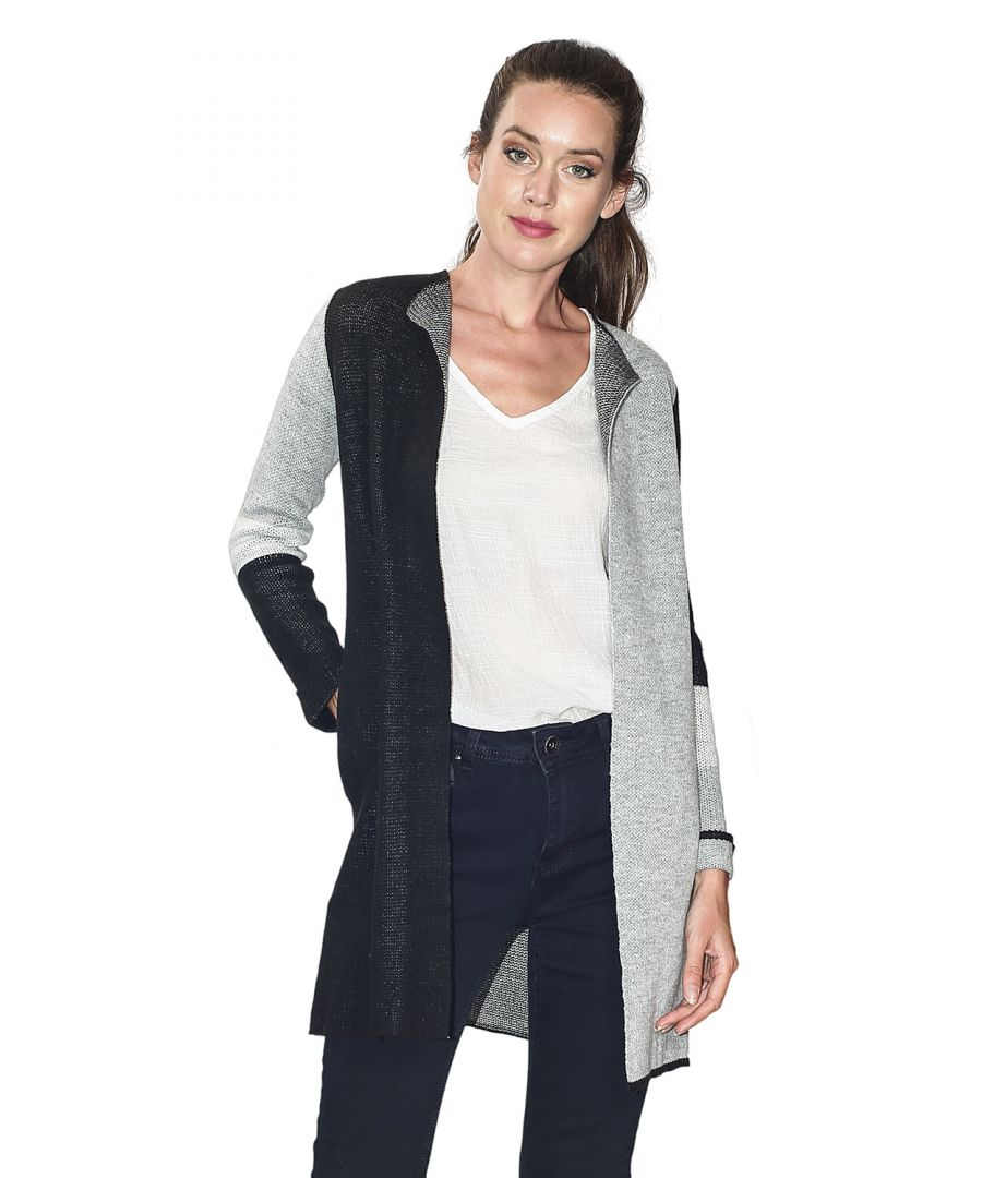 Image for Assuili Long Sleeve Jacquard Patterned Cardigan with Aviator Sleeves and Pockets in Black