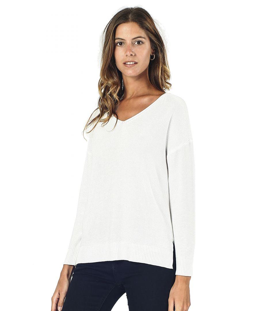 Image for Assuili Longline V-neck Sweater with Side Splits in Natural