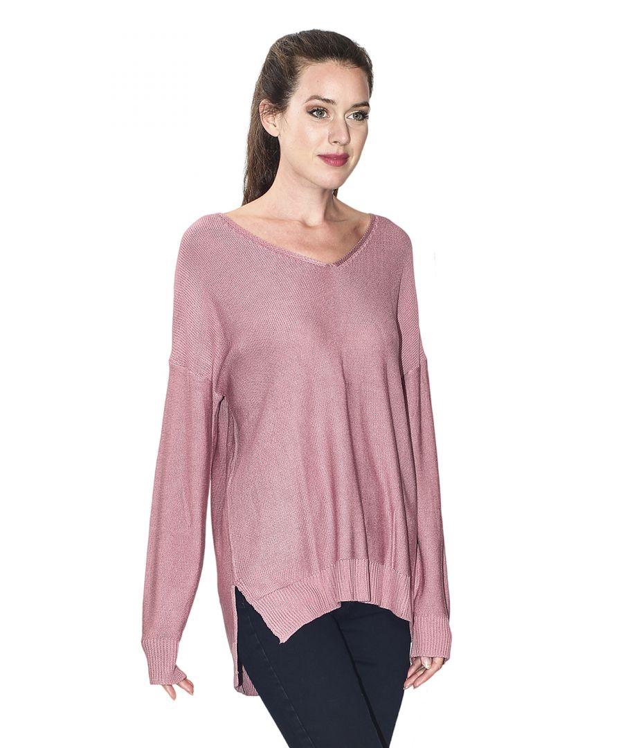 Image for Assuili Longline V-neck Sweater with Side Splits in Pink