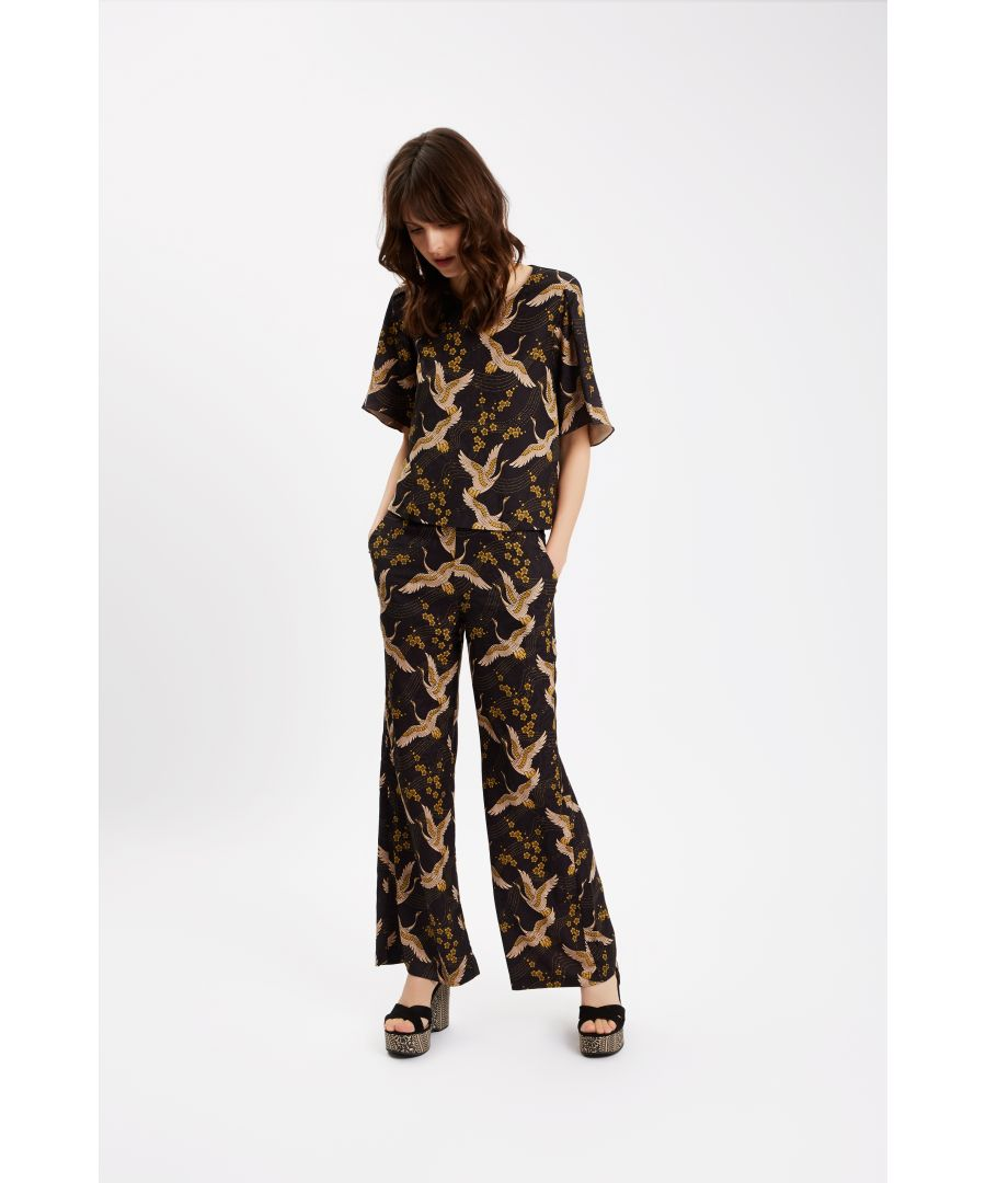 Image for Bird Print Straight Leg Trousers in Black