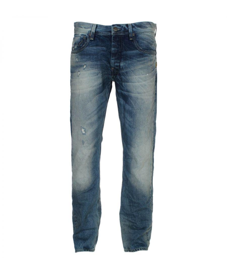 Image for G-Star Attacc Straight Medium Aged Destroy Visor Denim Jeans