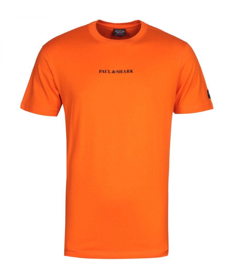 Image for Paul & Shark Written Logo Orange T-Shirt