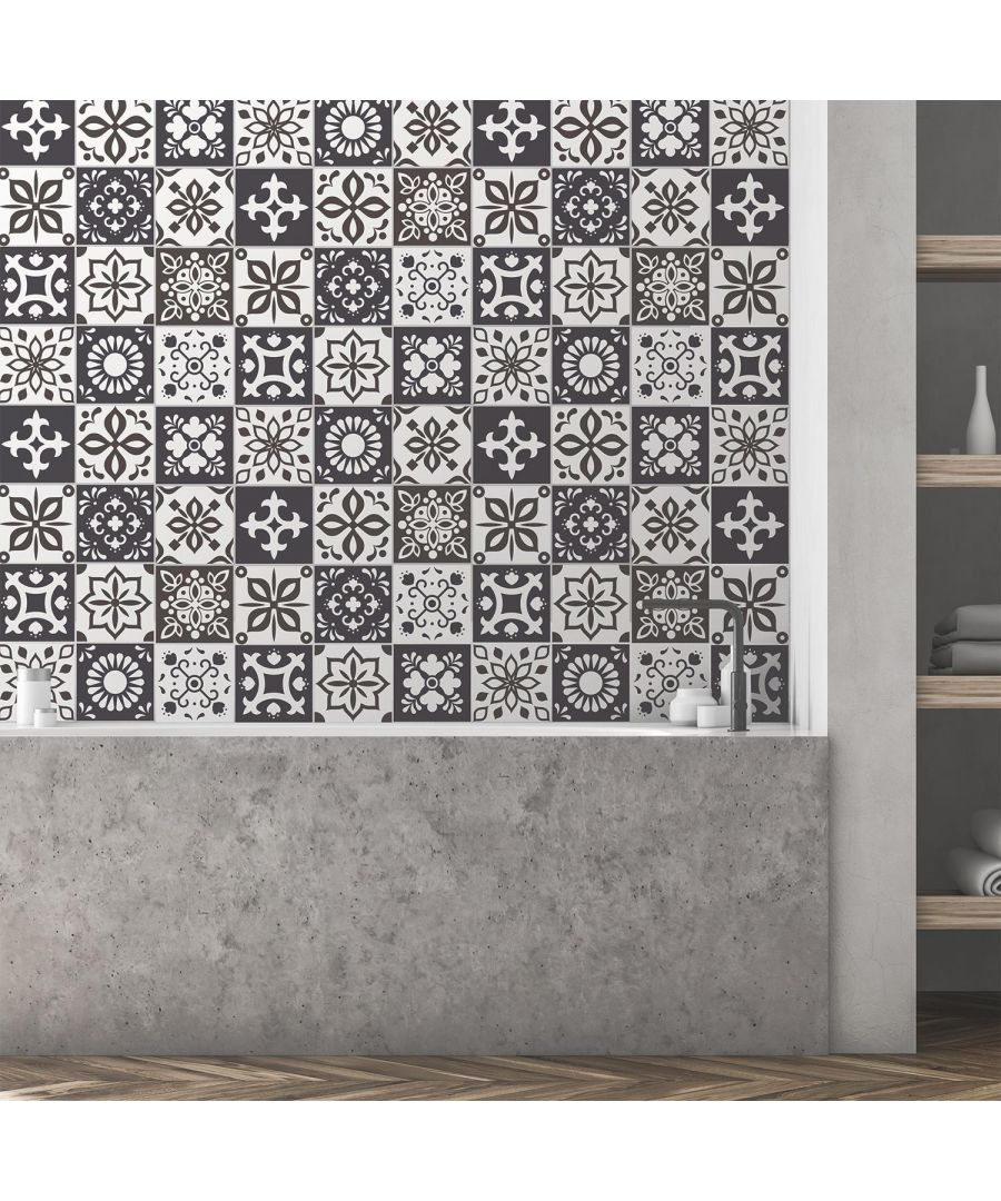 Image for Marjorelle Black and White Moroccan Wall Tile Sticker Set - 15 x 15 cm (6 x 6 in) - 24 pcs Tiles Wall Stickers, Kitchen, Bathroom, Living room
