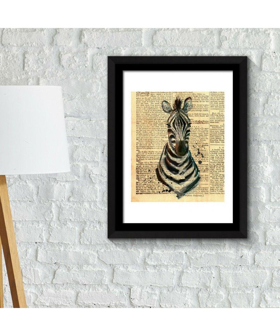 Image for Framed Art 2in1 Zebra Newspaper Animal Poster Framed Photo, Framed Art