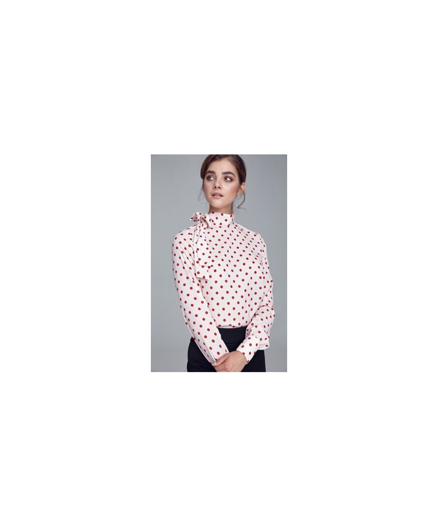 Image for Blouse with side tie - cream/peas