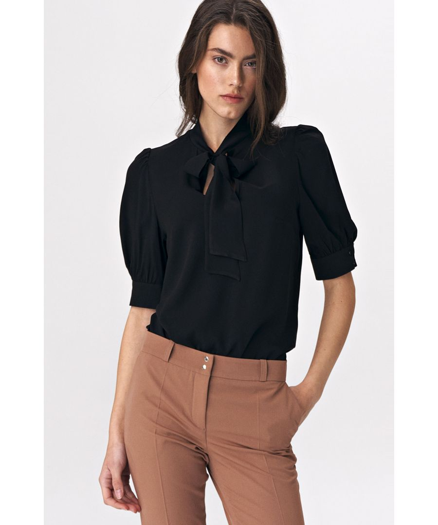 Image for Elegant black blouse with a tie on the neckline