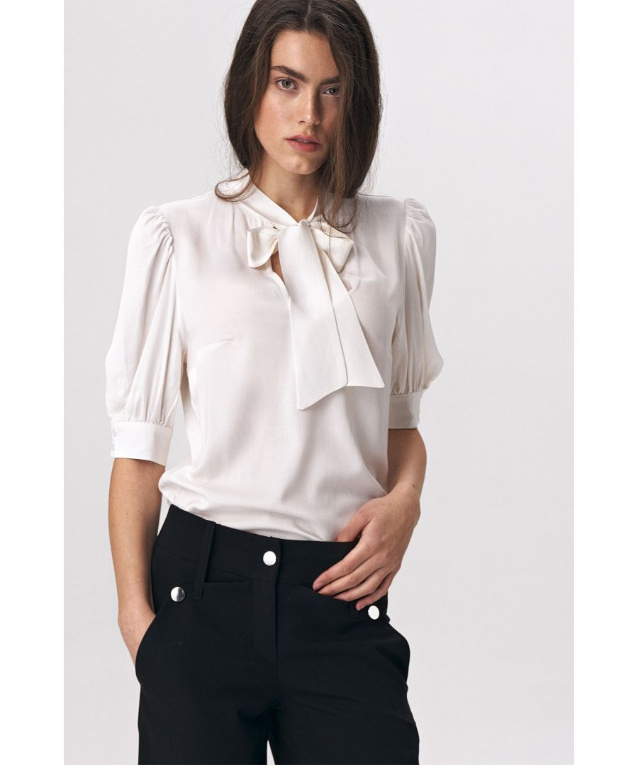 Image for Elegant ecru blouse with a tie on the neckline