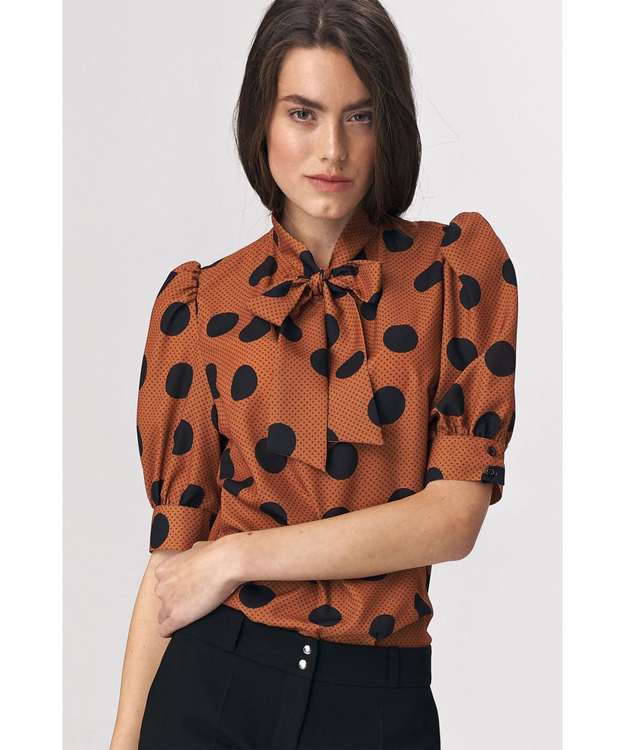 Image for Brown blouse with a tie on the neckline - peas pattern