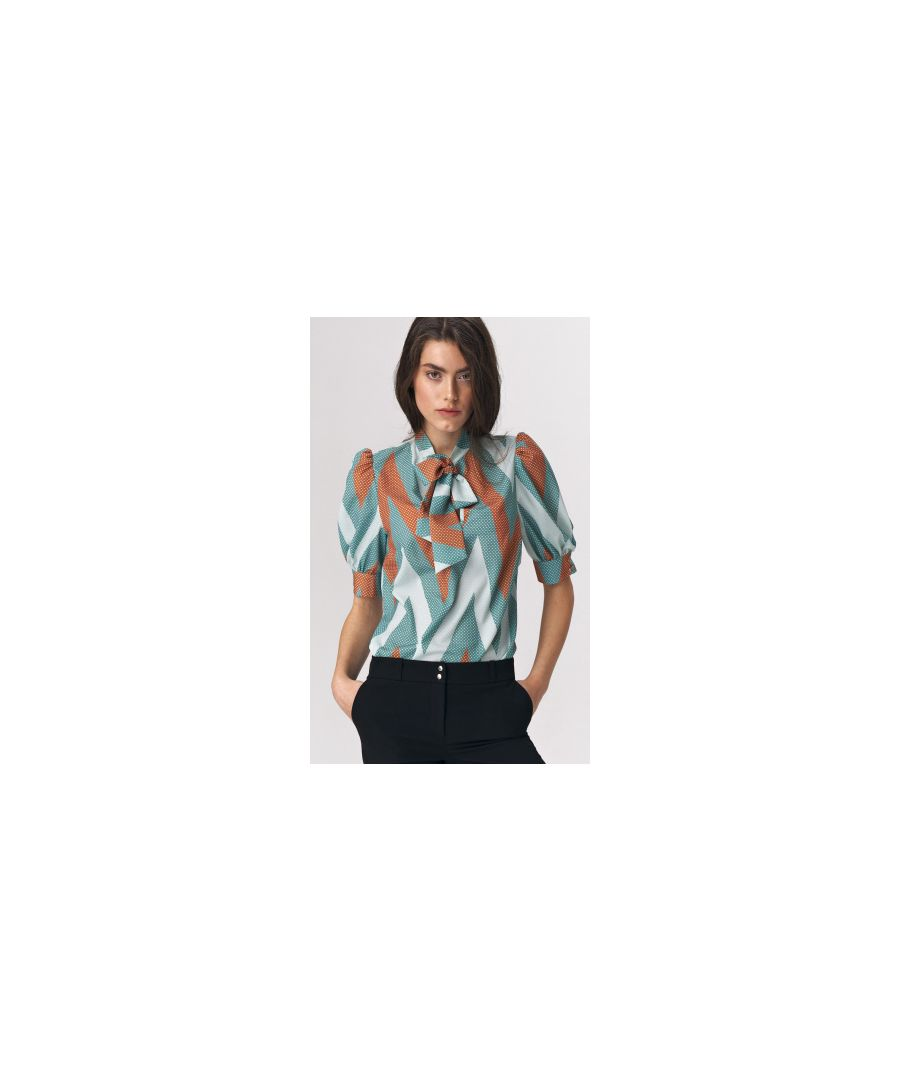 Image for Turquoise blouse with a tie on the neckline - zigzag pattern