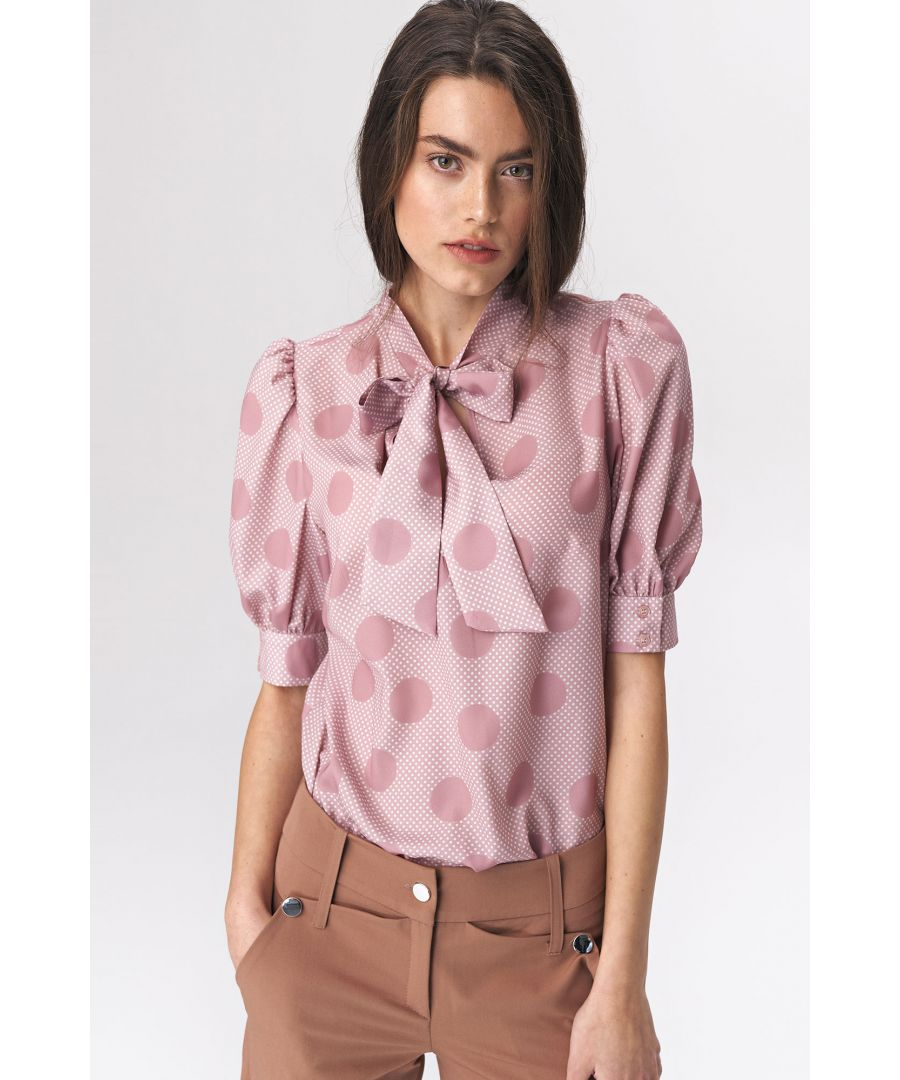Image for Pink blouse with a tie on the neckline - peas