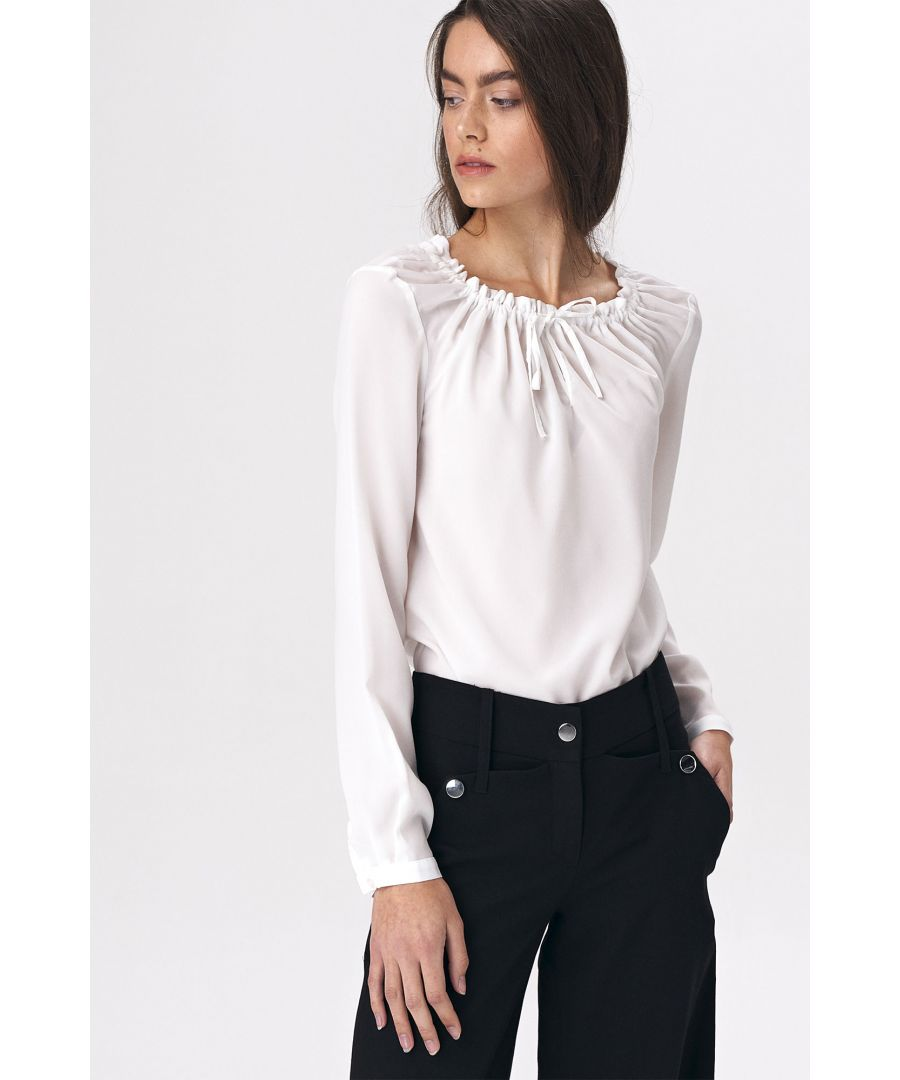Image for Blouse with girlish tie - ecru