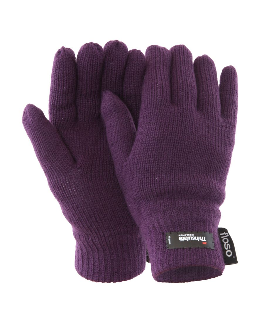 Image for FLOSO Ladies/Womens Thinsulate Thermal Knitted Gloves (3M 40g) (Purple)
