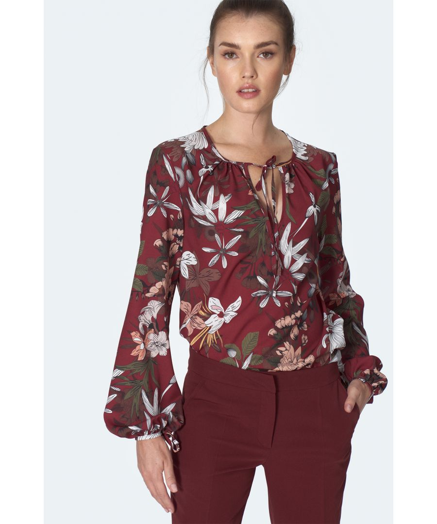 Image for Claret blouse with tie on the neckline with flowers pattern