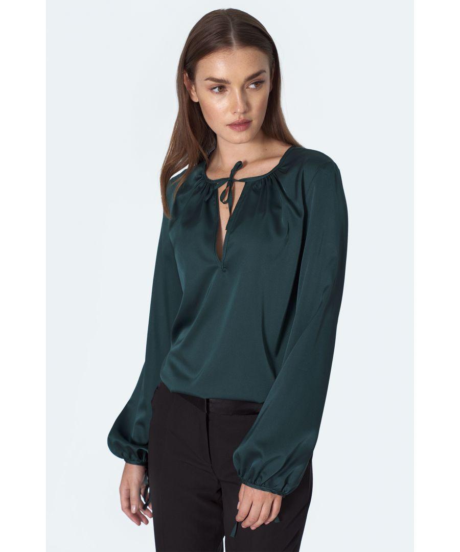 Image for Satin blouse in bottle green colour