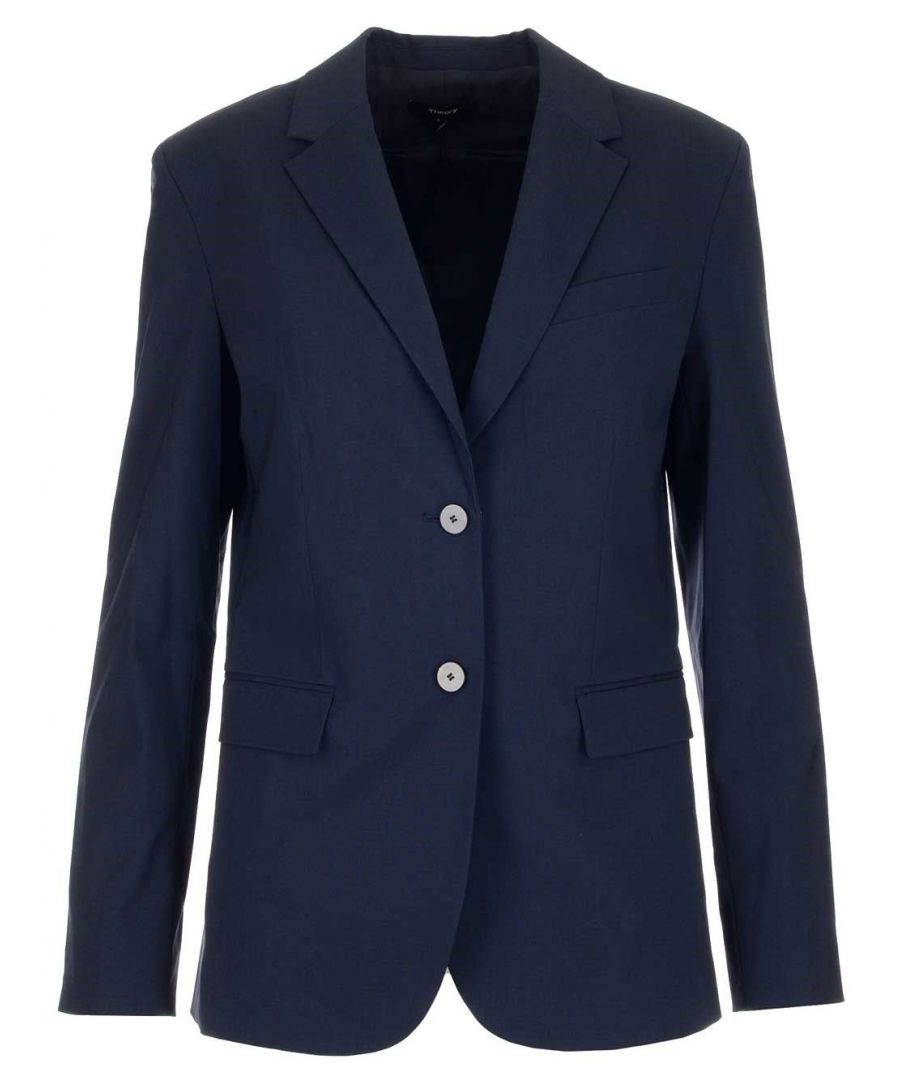 Image for THEORY WOMEN'S I1201101Y9A BLUE WOOL BLAZER