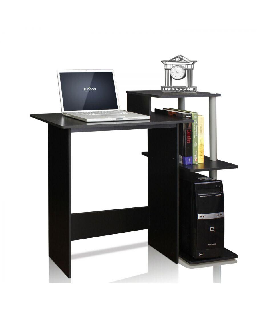 Image for Furinno Efficient Home Laptop Notebook Computer Desk - Black/Grey