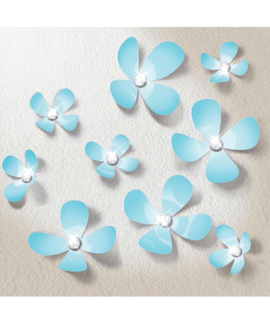Image for Crystal 3D Flowers - Light Blue Self Adhesive DIY Wall Sticker, bedroom wall sticker