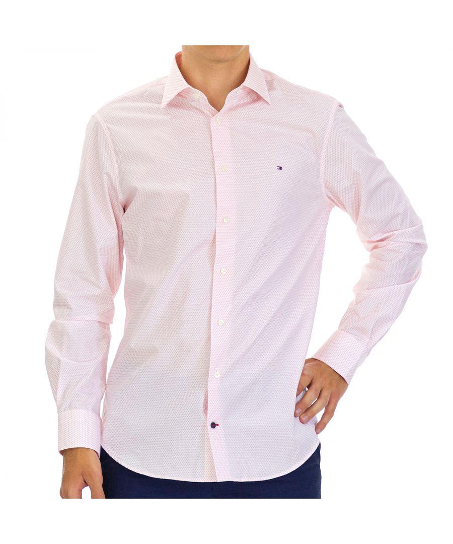 Image for Tommy Hilfiger Men's Shirt Poplin Regular Fit with Long Sleeve Pink