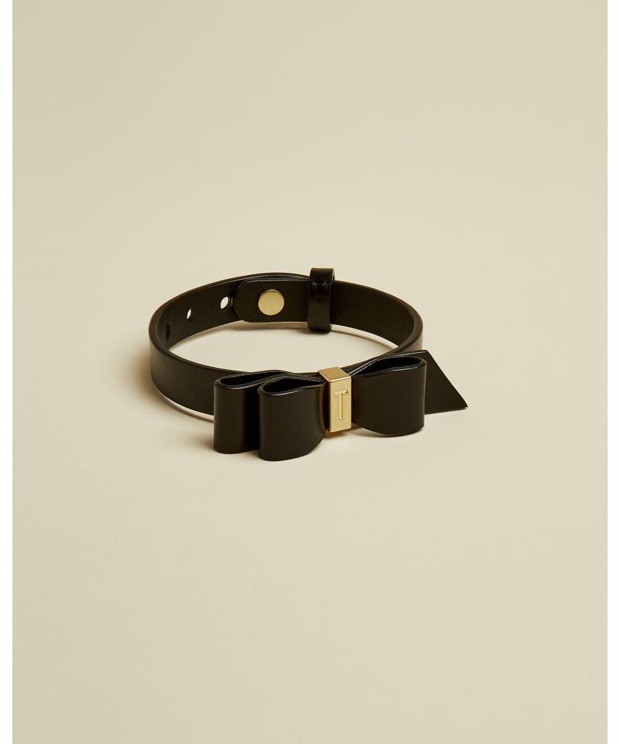 Image for Ted Baker Justine Leather Bow Bracelet, Black