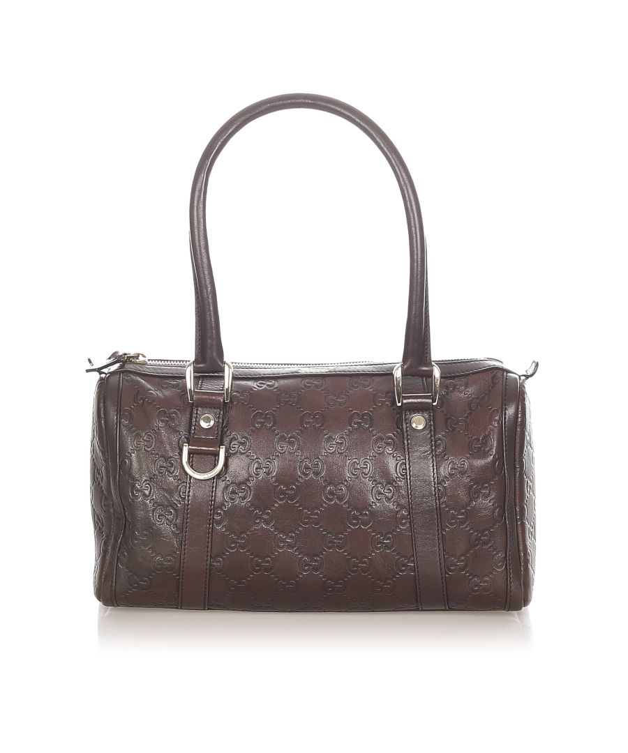 Image for Vintage Gucci Guccissima Abbey Leather Boston Bag Brown