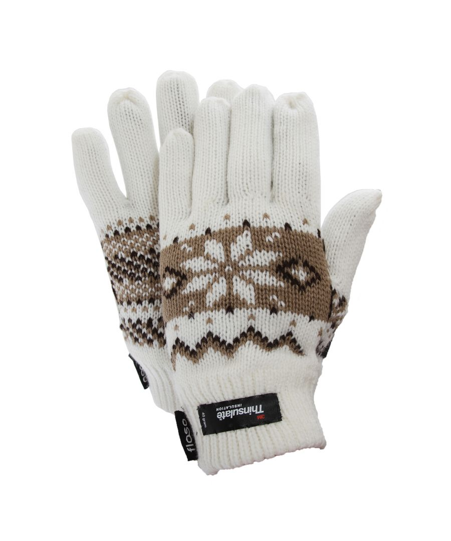 Image for FLOSO Ladies/Womens Thinsulate Fairisle Thermal Gloves (3M 40g) (White)