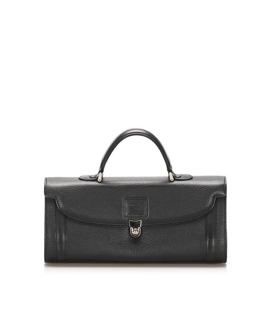 Image for Vintage Burberry Leather Handbag Black
