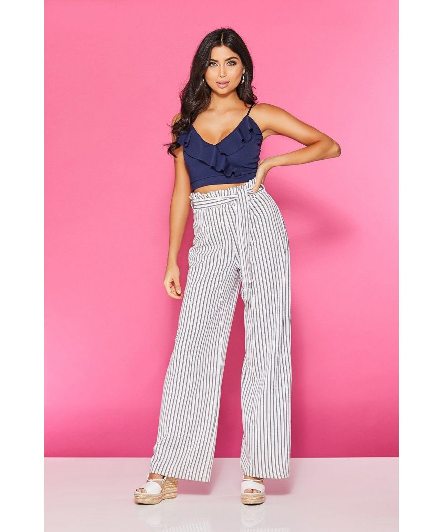 Image for Cream Stripe Paper Bag Palazzo Trousers